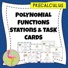 Four stations of 54 task cards covering four topics, domain & range, Function behavior, discontinuity, end behavior and zeros. Also great differentiated instruction with cut and paste independent activities for interactive notebooks.