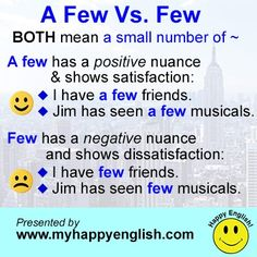 #English #grammar - a few vs. few - Check out these 21 Essential English Grammar Lessons - http://www.businessenglishace.com/21grammar (scheduled via http://www.tailwindapp.com?utm_source=pinterest&utm_medium=twpin&utm_content=post2078953&utm_campaign=scheduler_attribution)