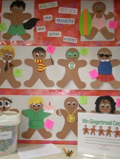 Gingerbread book characters. Guess who they are contest and win a bag of Gingerbread cookies. Richfield Branch Library. Designed by a Student Shelver