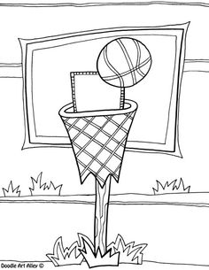Free Coloring Sheet Of Basketball For Kindergarten