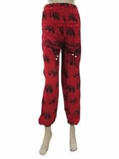 Amazon.com: Harem Pant Elephant Printed Smocked Waist Yoga Pants for Womens (Red): Clothing