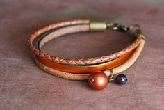 Copper Glow    braided leather bracelet //autumn fall by picturing, €19.90