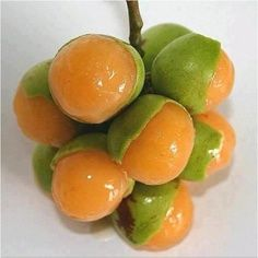 The Guinep fruit typically ripen during the summer. The fruit is related to the lychee and have tight, thin but rigid skins. Inside the skin is the tart, tangy, or sweet pulp of the fruit covering a large seed. The pulp is usually cream or orange coloured.