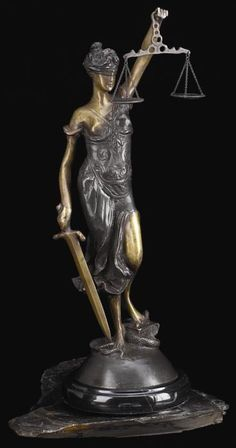 Lady Justice Bronze Sculpture on Marble Base T.P.