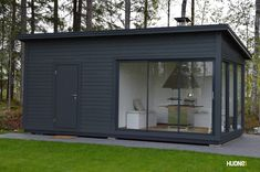 Хранение и площадка для барбекю это хорошее сочетание Garden Office Shed, Contemporary Garden Rooms, Garage Door Colors, Sauna House, Barn Renovation, Minimalist House Design, Garden Studio, House Extensions, Pool Houses