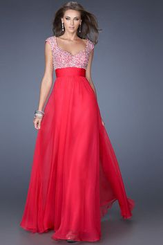 2014 Exquisite Straps A Line/Princess Floor Length Chiffon Prom Dresses Beaded And Ruffled