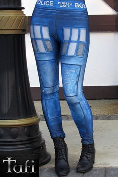 NEW TAFI Police Call Box Leggings  Dr Who by ToyAndFashion on Etsy