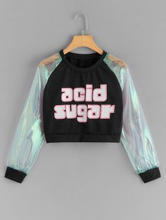 Contrast Mesh Letter Print Crop Sweatshirt Source by Girls Fashion Clothes, Teen Fashion Outfits, Outfits For Teens, Fashion Dresses, Grunge Outfits, Maxi Dresses, Crop Top Outfits, Cute Casual Outfits, Stylish Outfits