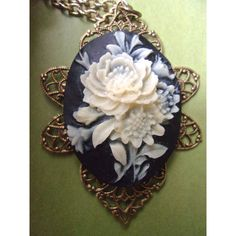 White Rose Black Cameo Pendant Necklace, Victorian Revival Celluloid,... ($26) ❤ liked on Polyvore featuring jewelry, necklaces, rose necklace, vintage pendant necklace, vintage cameo necklace, cameo pendant necklace and victorian cameo necklace