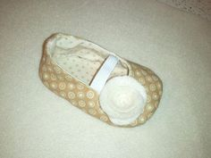 Tan Dot Shoes with Rose Embellishment by MilliesFrillies on Etsy, $15.00