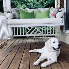 Sunday Porch Swing | Ballard Designs Deck Furniture, Cushions, Hammock Swing, Porch Swing, Porch Enclosures, Deep Seat Cushions, Furniture, Ballard Designs, Porch Design