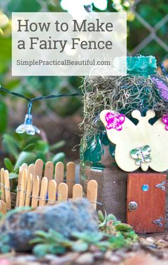 Make a simple DIY fairy garden fence craft with popsicle sticks and wire. Video tutorial.
