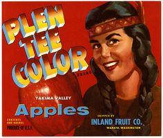 Plen Tee Color apples fruit crate label art