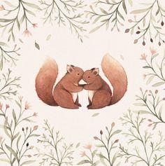 Cheeky Squirrels : Illustration on a 15x15cm by NinaStajner