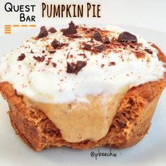 Ripped Recipes - Quest Bar Pumpkin Pie - Dessert for fall! Such pumpkin. Many autumn. Very protein. Wow. Protein Desserts, High Protein Snacks, Health Desserts, Protein Recipes, Protein Foods, Pumpkin Pie Bars, Pumpkin Pie Recipes, Ripped Recipes, Paleo