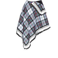 Danielle Romeril Dani tartan-check wool wrap skirt (10045690 BYR) ❤ liked on Polyvore featuring skirts, multi, white skirt, woolen skirt, plaid wrap skirt, white wool skirt and checkered skirt