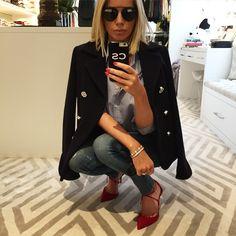 Caroline Stanbury.. Pacora Banne shirt and jacket, Aquazzura heels, Dior…