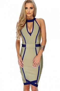 Sexy Khaki Royal Blue V-Cut Sleeveless Bandage Party Dress