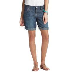 Loft - LOFT boyfriend jean 032513 - Boyfriend Shorts in Twilight Blue Chambray with 10 1/2 inseam. Modest shorts