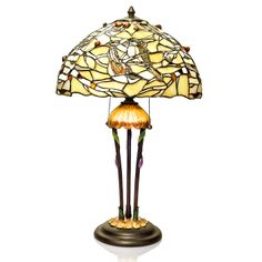 """26"""" H Birds of Nouveau Stained Glass & Agate Table Lamp