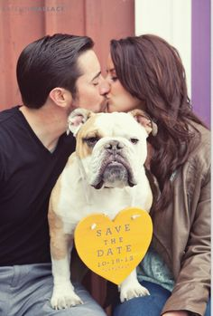 I love this idea for the save the date card. Lucifer (our bulldog) would look really adorable and it's a sweet way to include him in the wedding.