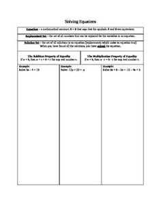 Writing and Solving Linear Equations - graphic organizers in Word format