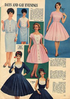 lana lobell | Lana lobell 1962 | Flickr - Photo Sharing! vintage fashion style color photo print ad models magazine sheath wiggle fit flare full skirt black blue pink white 3 pc suit dress 50s 60s
