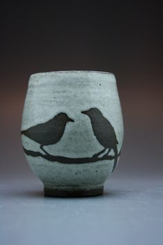 Foxtail Pottery - Mug, 2 Birds, Antique White Glaze A glazing technique to try: paint greenware with black slip Bisque fire Paint design with wax resist, dip in white glaze High fire click now for more info. Glazing Techniques, Ceramic Techniques, Pottery Techniques, Painting Techniques, Pottery Mugs, Ceramic Pottery, Pottery Art, Pottery Wheel, Pottery Painting
