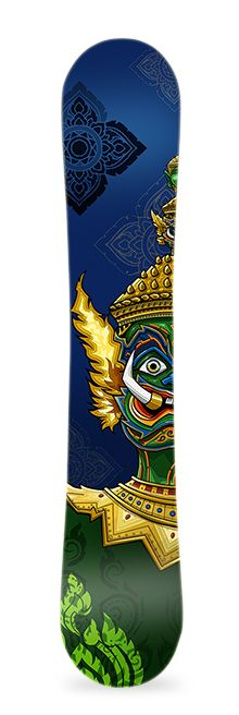 Thai demon. Diseño de vinilo adhesivo para snowboard. #greenmonkeybanana