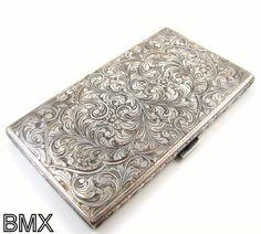 Embellished Vintage Sterling Silver Cigarette Case