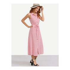 SheIn(sheinside) Pink Tie Waist Button Roll-up Collar Sleeveless Dress featuring polyvore, women's fashion, clothing, dresses, pink, collar dress, long-sleeve midi dresses, shirt dress, pink midi dress and white sleeveless dress