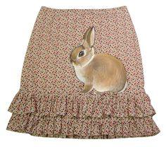Dwarf Bunny handpainted  skirt  A line floral knee length ruffle hem skirt