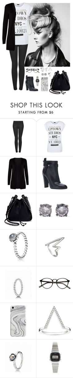 """Untitled #90"" by rafieldshow ❤ liked on Polyvore featuring Topshop, Sergio Rossi, Valentino, Bottega Veneta, Pandora, Recover, Thomas Sabo and Casio"