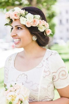 911dd4680b4 Gray three piece suit. SF city hall. Love. Peonies. Ivory lace dress. Silver  shoes. Flower crown peonies Indian Wedding Flowers