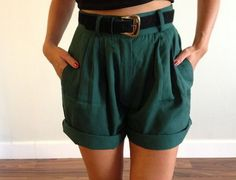 Vintage High Waisted Forest Green Pleated Shorts W/ Belt Included