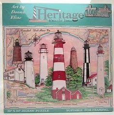 Coastal Delaware Maryland Virginia Lighthouse Jigsaw Puzzle Donna Elias 1000 Pcs