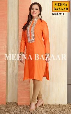 Orange Mirror work Kurti Chic yourself with this Orange Mirror work Chanderi Kurti. The Yoke part is embellished mirror work with zari and moti embroidery. It contains similar buttons on the neckline and full length sleeves with attractive sequence work on borders. Perfect to glow up the Party!