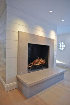 Grey/beige limestone fireplace