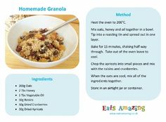 Healthy homemade granola - free printable recipe sheet for kids from Eats Amazing UK