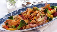 Kylling- og grønnsakwok Wok, Japchae, Shrimp, Chicken, Ethnic Recipes, Woks, Cubs, Kai