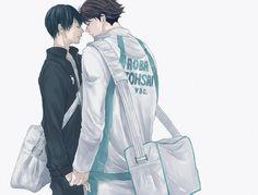 OMG never shipped them together- but thats kinda hot o_o ~ Haikyuu Meme, Haikyuu Kageyama, Kuroo Tetsurou, Haikyuu Manga, Haikyuu Fanart, Anime Manga, Tsukkiyama, Haikyuu Volleyball, Kurotsuki