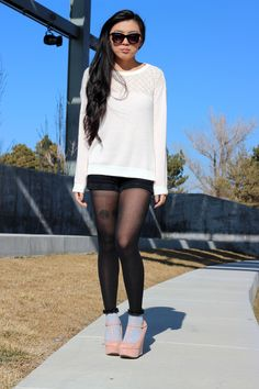 Blush pink girly but still edgy outfit.