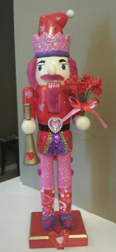 turn old holiday nutcracker into a valentine nutcracker