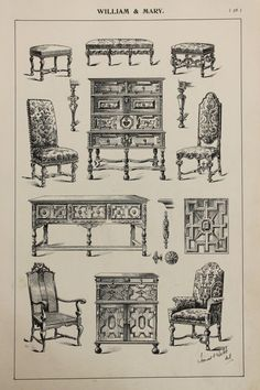 English William and Mary Furniture Designs Large by PaperPopinjay