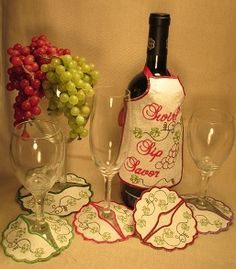 Fun to make In the hoop machine embroidered wine bottle aprons. There are 6 apron designs to choose from and 2 sizes of stemmed glass coasters. Wine Bottle Design, Wine Design, Wine Coaster, Sewing Machine Embroidery, Wine Craft, Coaster Design, Apron Designs, Glass Coasters, Shop Ideas