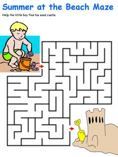 Boy and sandcastle maze from DLTK