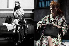 Actress Jessica Chastain wears floral print dress in Prada's resort 2017 campaign