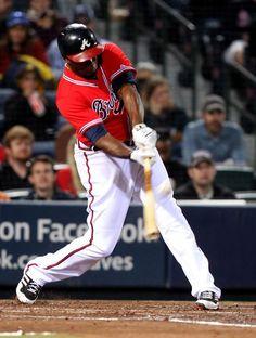 Justin Upton, Atlanta Braves played on USA Baseball's National Team Braves Baseball, Baseball Players, Football, Face Ok, Justin Upton, Atlanta Braves Baby, Mlb Uniforms, Mlb Nationals, Sports