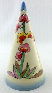 SUPERB ART DECO CLARICE CLIFF AGAVE PATTERN CONICAL SUGAR SIFTER $630