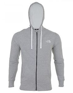 North Face Emb Logo Full Zip Hoodie Mens CZZ6-LD4 Grey White Hoody Size 2XL